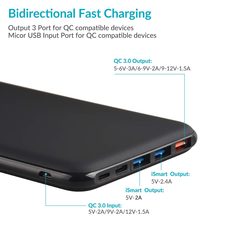 Charmast Batería Externa Carga Rápida 26800mAh Power Bank Quick Charge QC 3.0 Cargador Externo Power Delivery con 3 Entradas y 4 Salidas Ultra Alta ...