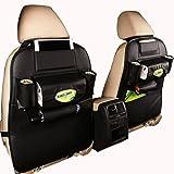Ideashop Car Backseat Organizer PU Leather Auto Back Car Seat Organizer Holder Pocket Storage Kick Mats (1 Pack Black)