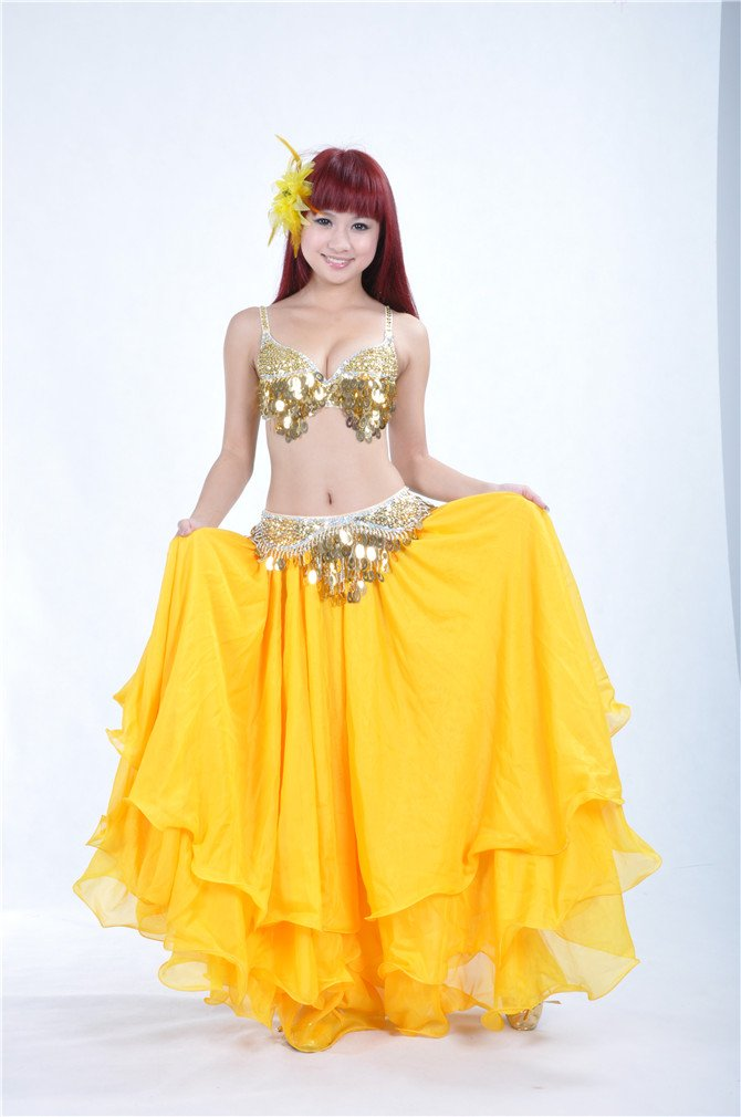 Dreamspell Yellow Shining Color Long Skirt Big Curling for Dancer by Dreamspell