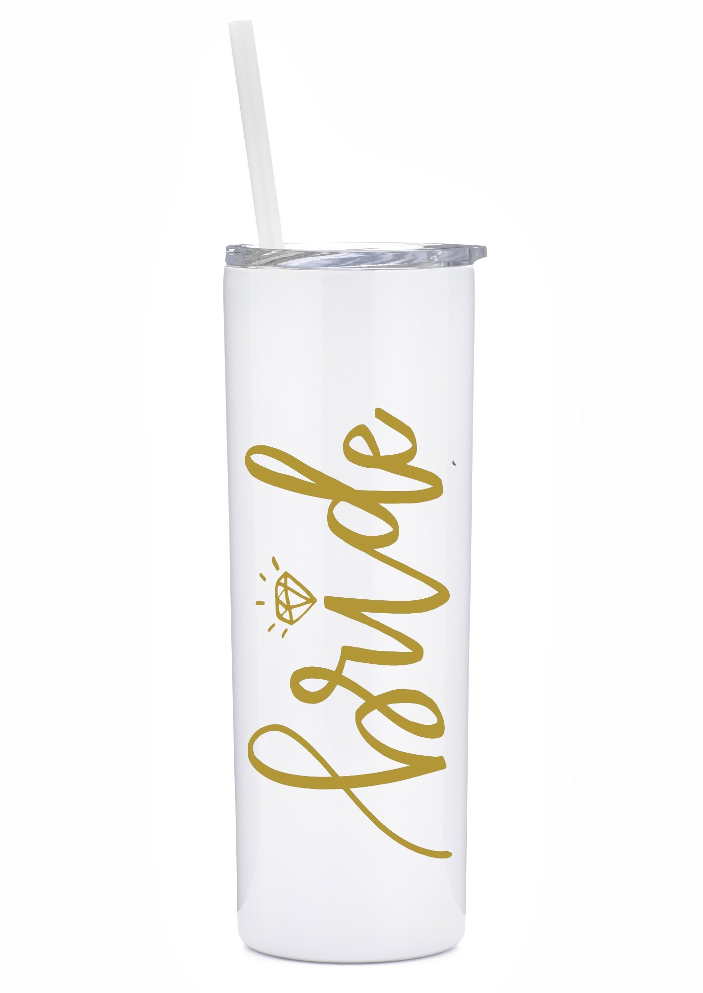Bride Tumbler - 20 oz Stainless Steel Insulated Tumbler with Lid and Straw - Bride Gift, Bridal Shower, Engagement, Bachelorette, Wedding (White and Gold)