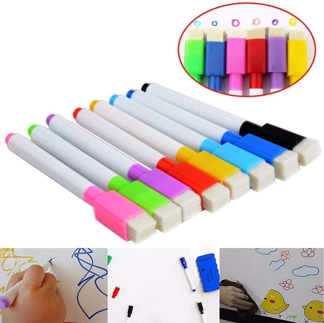 WESEEDOO White Board Pens Markers Pens With Eraser Painting Pens White Board Markers Pens Assorted small Magnetic Dry Wipe Whiteboard Pens With Built in Eraser 8 PCS