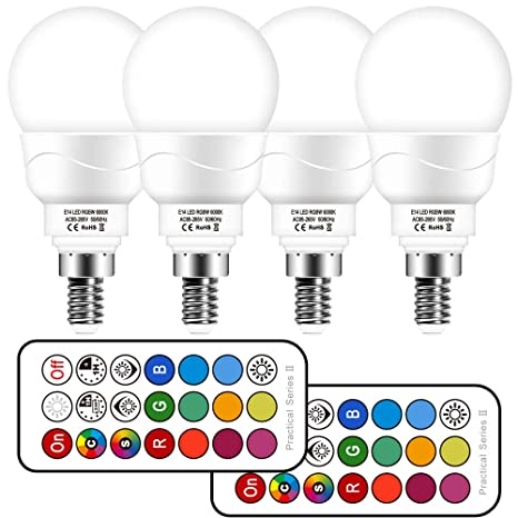 Bombilla led Colores E14, Bombilla RGBW con mando a distancia,3W Equivalente a 30W Halógena,5700K Luz Blanca Fría,bombilla colores regulable 12 ...