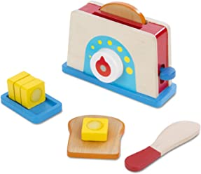 Melissa & Doug Bread and Butter Toaster Set (9 pcs) - Wooden Play Food and Kitchen Accessories