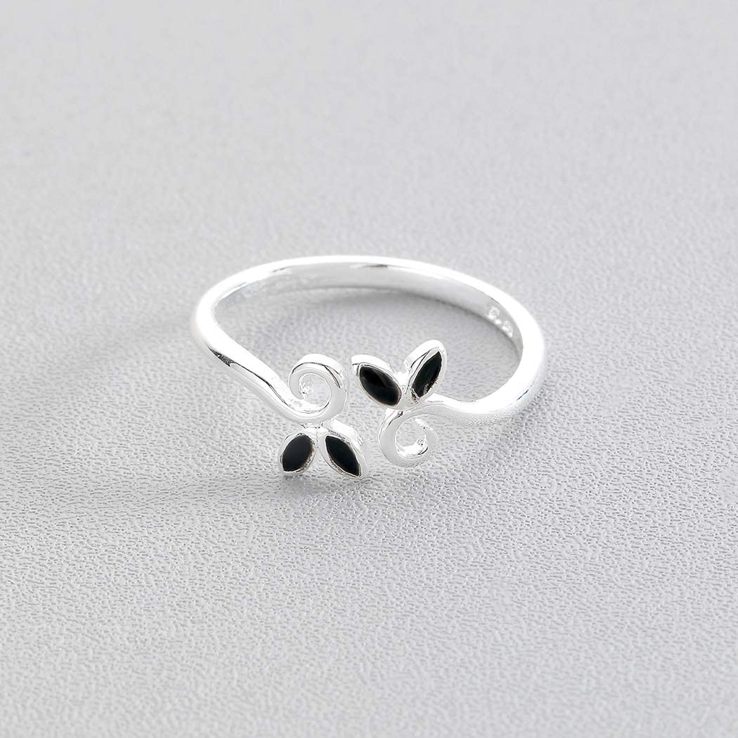 QIAMNI Handmade Black Leaf Knuckle Finger Ring Minimalist 925 Sterling Silver Leaves Jewelry Women Girls