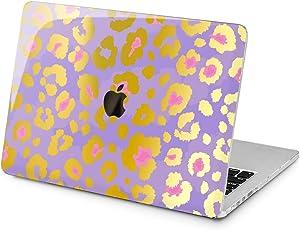 "Cavka Hard Shell Case for Apple MacBook Pro 13"" 2019 15"" 2018 Air 13"" 2020 Retina 2015 Mac 11"" Mac 12"" Trendy Cover Purple Laptop Design Leopard Print Stylish Protective Plastic Pattern Luxury Cute"