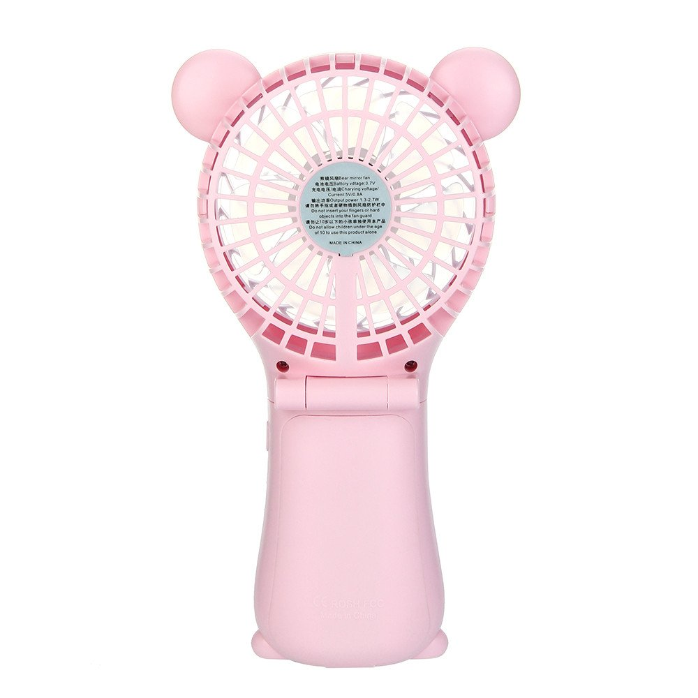 Outdoor Handheld Fan Folding,Mini Portable USB Charging Rechargeable Lithium Battery,MeiLiio Ultra Quiet Summer Cooling Fan Cute Cartoon Bear Fans with Mirror Beauty for Baby Room Yoga Spa (Pink) by MeiLiio (Image #3)
