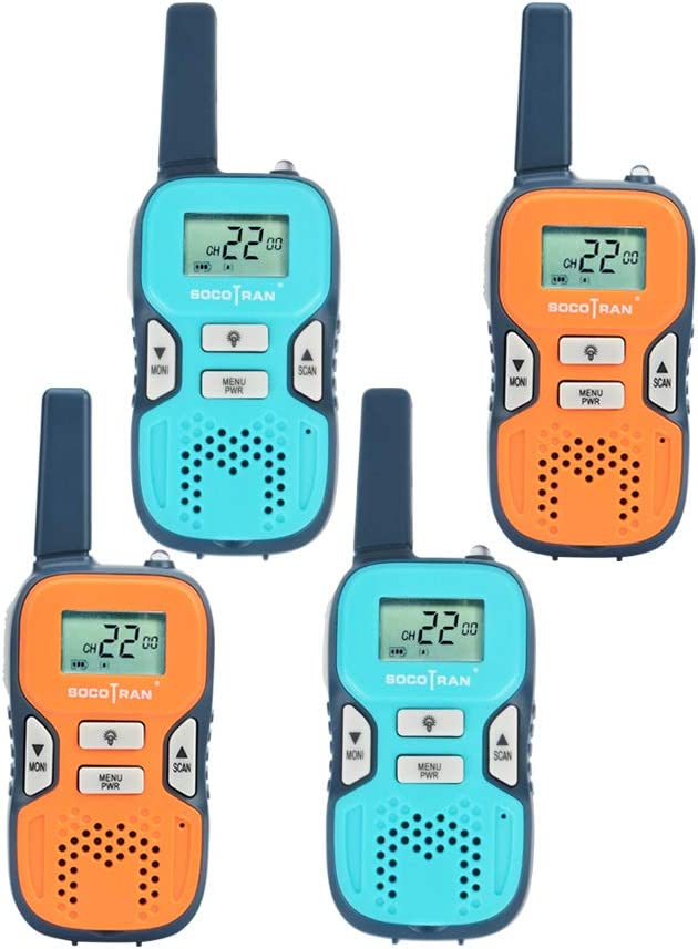 Walkie Talkies for Kids 4 Pack Rechargeable Long Range Kids Walkie-Talkie Spy Gear Toys Set for Boys Girls Outdoor Games Playing Set for Family Camping Hiking