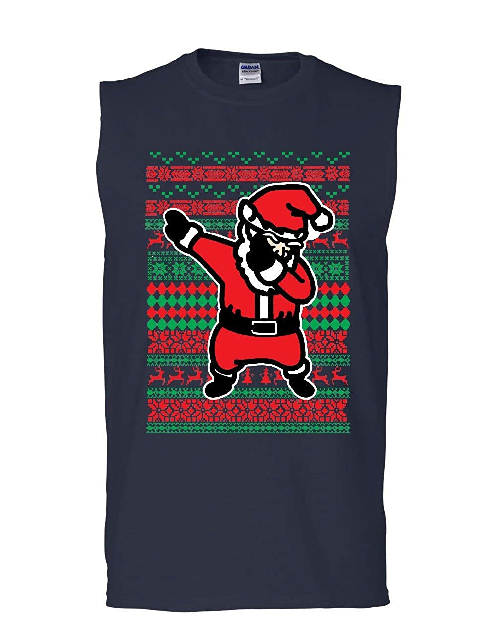 Tee Hunt Santa Dab Dancing Ugly Sweater Muscle Shirt Christmas Xmas Ho Ho Ho Sleeveless