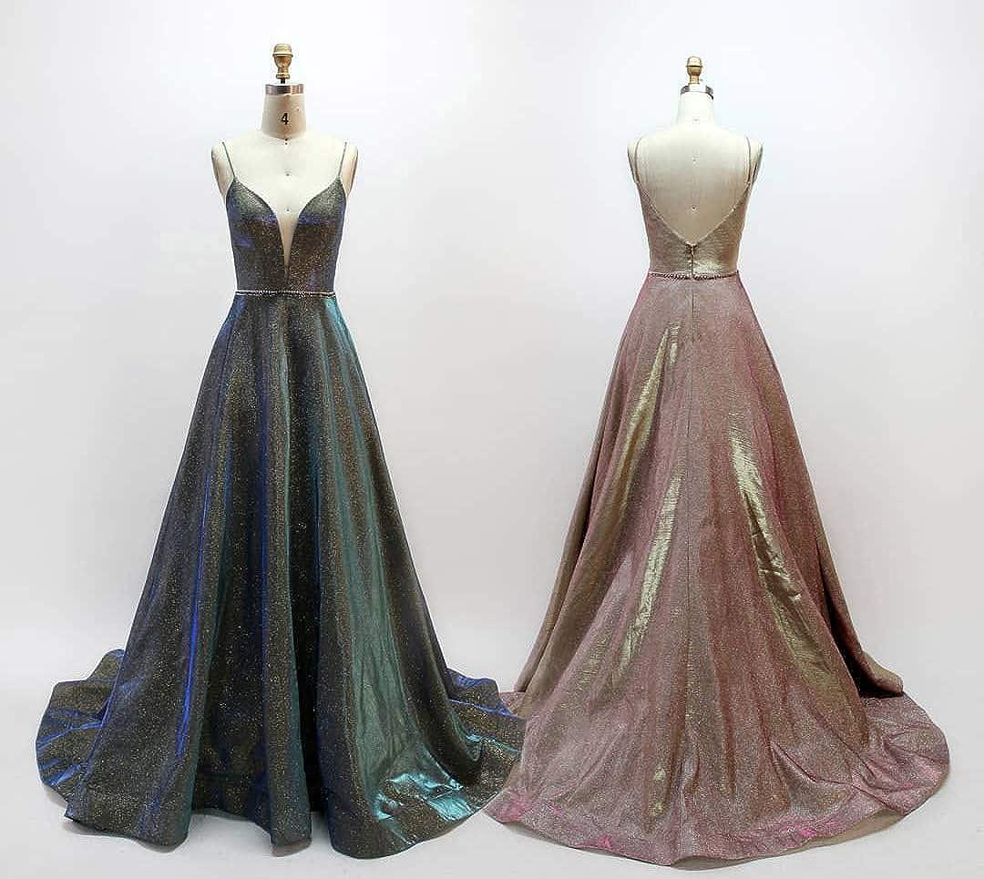 BEAUTBRIDE Womens Spaghetti Straps V Neck Ball Gown Long Glitter Evening Dresses Formal