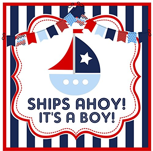 Ships Ahoy It's A Boy Stickers or Favor Tags Nautical Baby Shower Stickers