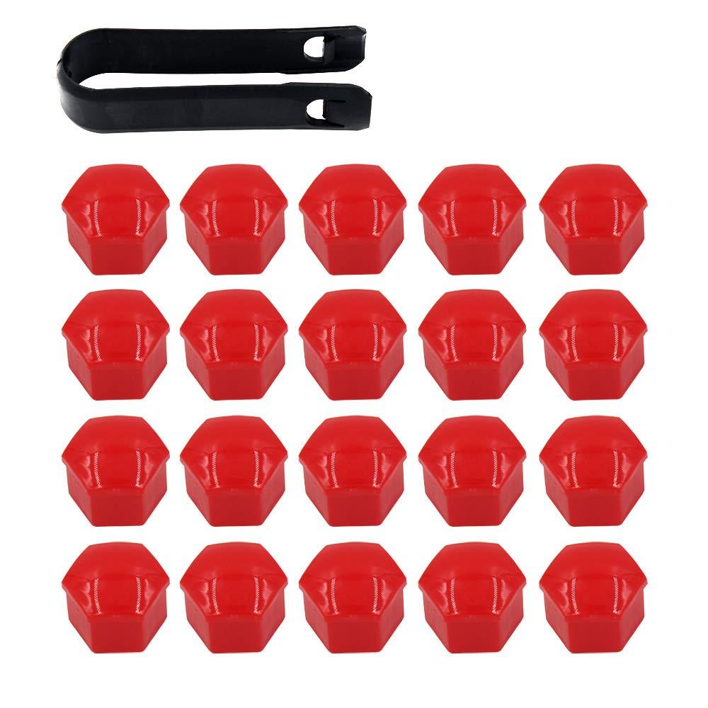 ARTGEAR 20 Pezzi Tappi a Vite Ruota Set Universale 17mm, Copridadi Ruota per Auto, Tappi Dadi Ruota Cerchione, Coperture Copricerchi con Estrattore (Rosso)