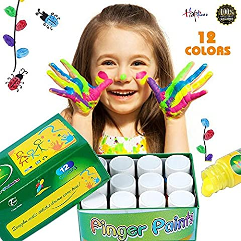 12Colors Washable Finger Paint for Kid's Painting Artwork, Safe Kid's Paints for Drawing, Great Art Supplies Non-Toxic Kids Finger-paint Set, Perfect Kids Paint set for School, Party, Children's (Toddler Non Toxic Paint)