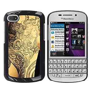 PC/Aluminum Funda Carcasa protectora para BlackBerry Q10 Tattoo Ink Body Art Goddess Ancient Arm / JUSTGO PHONE PROTECTOR