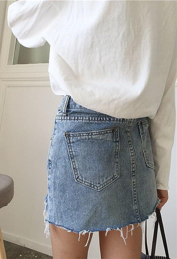 Runyue Mujer Corto Falda De Mezclilla Mini Vaquera Faldas De Una Línea Con Agujeros  Irregular Vaquero Falda Azul S  Amazon.es  Deportes y aire libre 2e68d78aac95