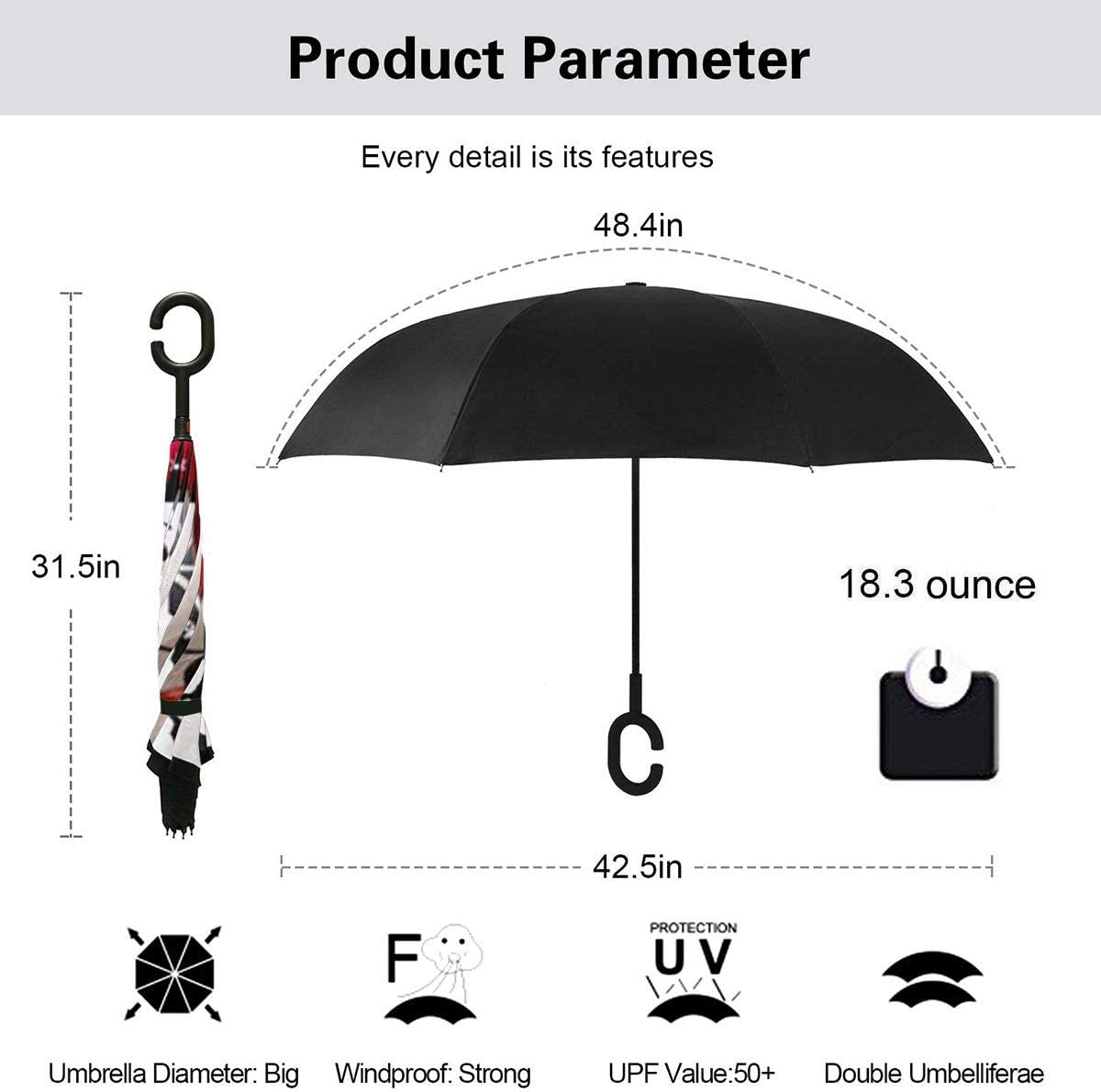 Double Layer Inverted Umbrella With C-Shaped Handle Snoopy Christmas Reverse Windproof Umbrella UV Protection Upside Down Umbrella
