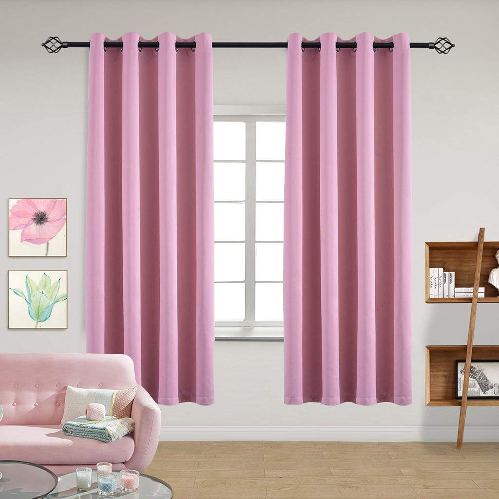 2 Panels,Purple Yakamok Thermal Insulated Solid Ring Top Blackout Window Drapes-Room Darkening Curtains Panels for Bedroom,42 W x 63 L Tie Backs Included 2 Panels 42 W x 63 L Tie Backs Included