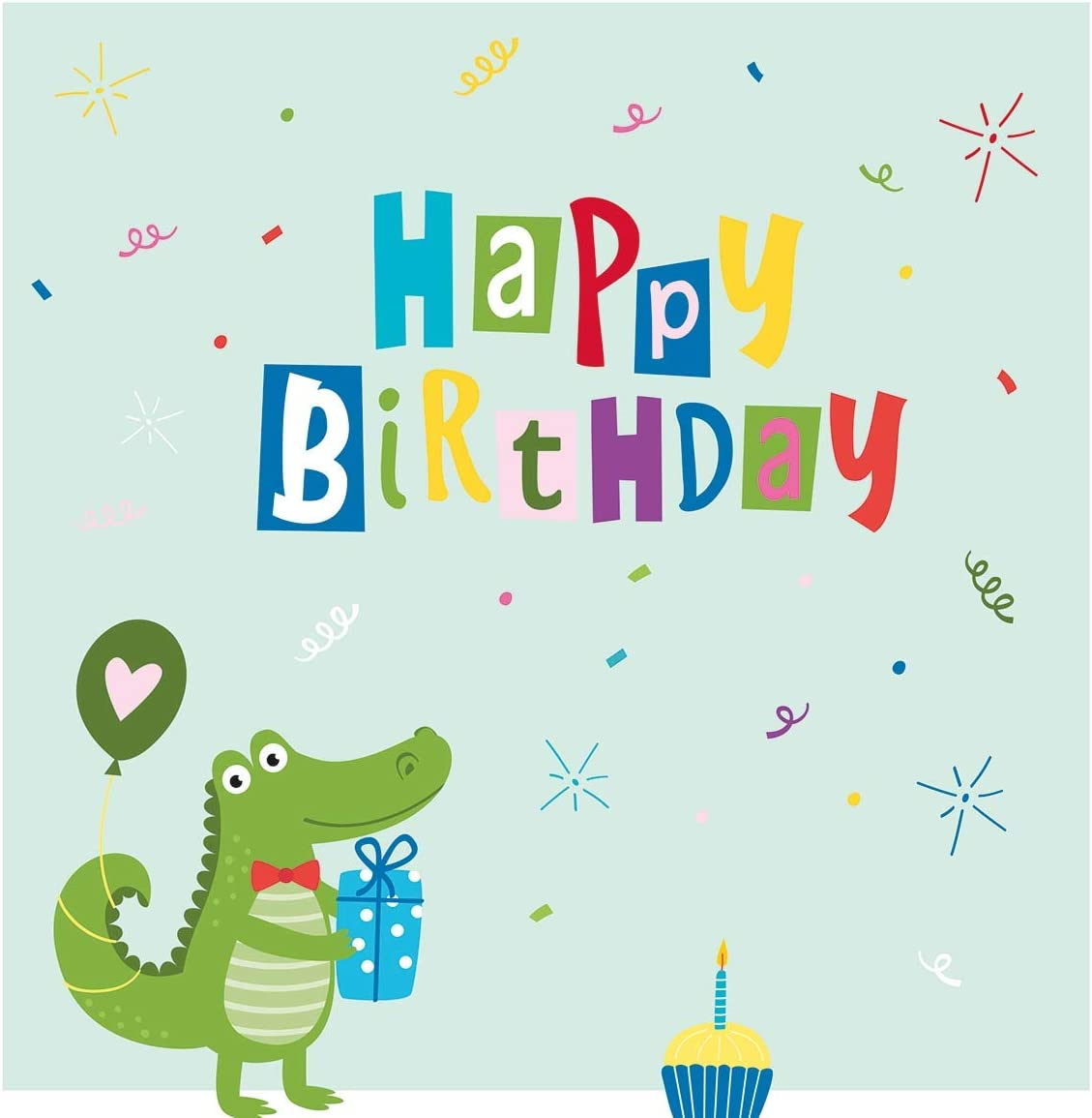 Lot de 2 40 serviettes 3 plis 33 x 33 cm anniversaire Motif crocodile Happy Birthday