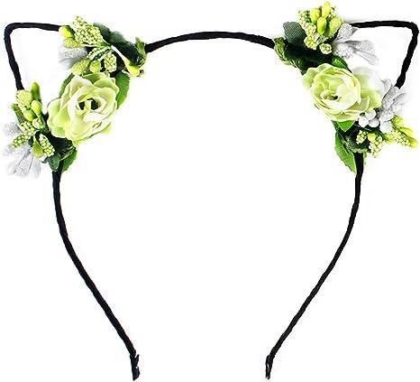 Kids Handmade Cat Ears Hairbands Floral Hair Bands Cosplay Costume Rose Flower