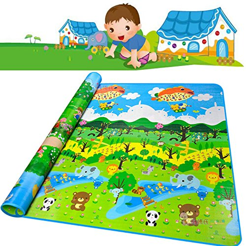 Extra Large Baby Play Mat - Non-Toxic Non-Slip Waterproof Foam Floor Game Crawling Rugs - Double Sides PlayMat for Babies Toddlers and Kids (Zoo and Forest)