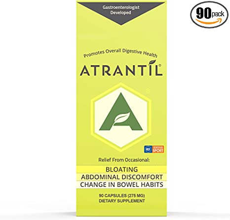 Atrantil 90 Capsules-Antioxidant Packed Polyphenol for Bloating and Gas Relief, Abdominal Discomfort, Constipation, Diarrhea, Postbiotic, Change in Bowel Habits and Everyday Digestive Health.