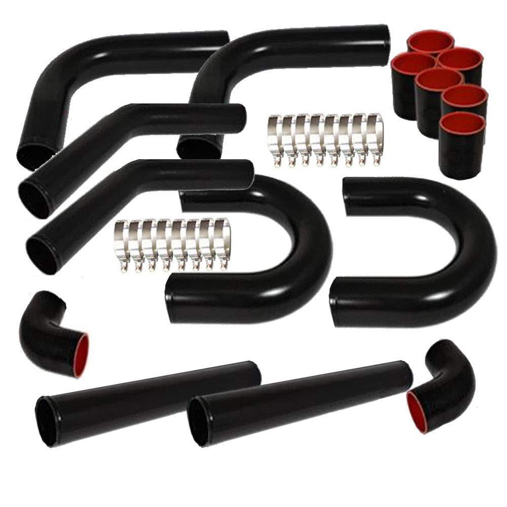 SUNROAD Universal 3 Inch Aluminum Intercooler Piping U-Pipe Kit /& Coupler /& T-Bolt Black