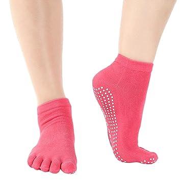 Kingnew antideslizante anti Skid Grip Calcetines Mujeres Pilates Yoga Calcetines Full Toe para fitness, danza