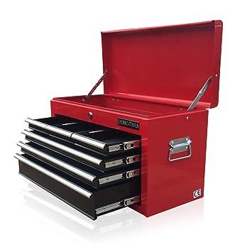 Caja de herramientas portátil US PRO TOOLS con 6 cajones deslizantes con rodamiento de bolas, colores rojo y negro: Amazon.es: Bricolaje y herramientas