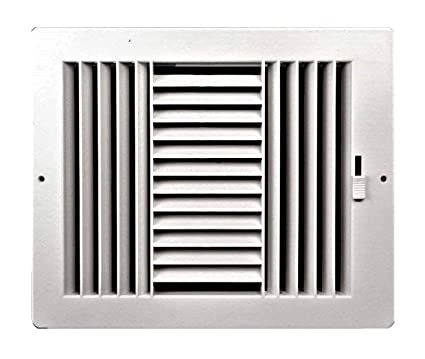 Three-way plastic register side wall/ceiling air register with  multi-shutter damper in white (12
