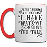 SLP Ways Of Making You Talk Contrast Coffee Mug by Spreadshirt, white/red