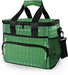 SLHFPX 15L Picnic Basket Keeps Food Hot/Cold for 12 Hours Lunch Tote American Football Field Insulated Picnic Cooler Bag for Grocery, Camping, Car,Travel, Shopping, Outdoor