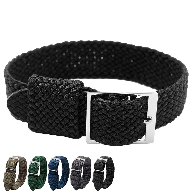 MSTRE nl03 20 mmシンプルなデザイン腕時計ストラップナイロンPerlon Braided Woven Watchバンドステンレススチールバックル 20mm ブラック  ブラック 20mm B072C728FT