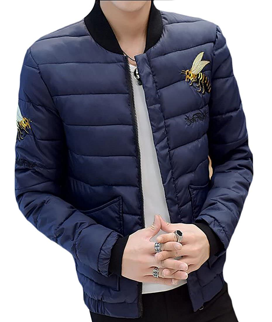 xtsrkbg Mens Standing Collar Embroidered Bee Classic Down Bomber Jacket