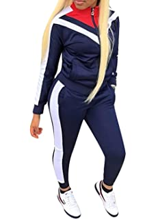 cdd39fabb0bfa Femme Rayure Ensembles Sportswear Manches Longues Zipper Top + Pantalon  Joggers 2 Pièce Survêtements de Sport