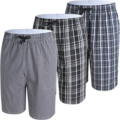 JINSHI Men's Pajama & Sleep Jam Cargo Short Lounge Pants 3Pack by JINSHI