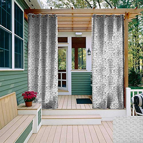 Tea Party, Outdoor Curtain of Lights, Doodle Drawing Monochrome Tableware Pattern with Biscuits and More Tea Quote, Outdoor Curtain Set for Patio Waterproof W84 x L96 Inch Grey White