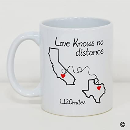Amazoncom Msmr White Mug Funny Mug Love Knows No Distance