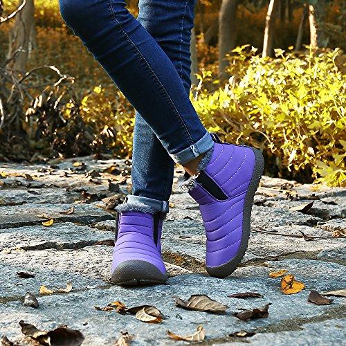 Femme Bottines Neige Saguaro® Cheville Top Haut Hiver Boots Fourrure Bottes Homme Violet Chaudes 5zBzFwqRO