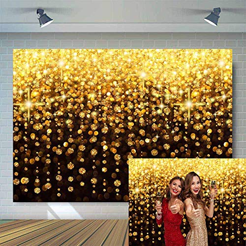 Allenjoy 7x5ft Black Gold Glitter Bokeh Backdrop for Selfie Picture Graduation Prom Decor Adult Children Birthday Party Banner Vintage Abstract Wedding Photography Background Photo Studio Booth Props -