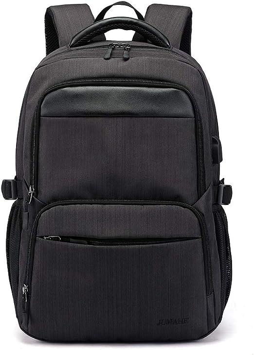Unisex Waterproof Laptop Backpack Solid Travel School Bag With USB Charging Port