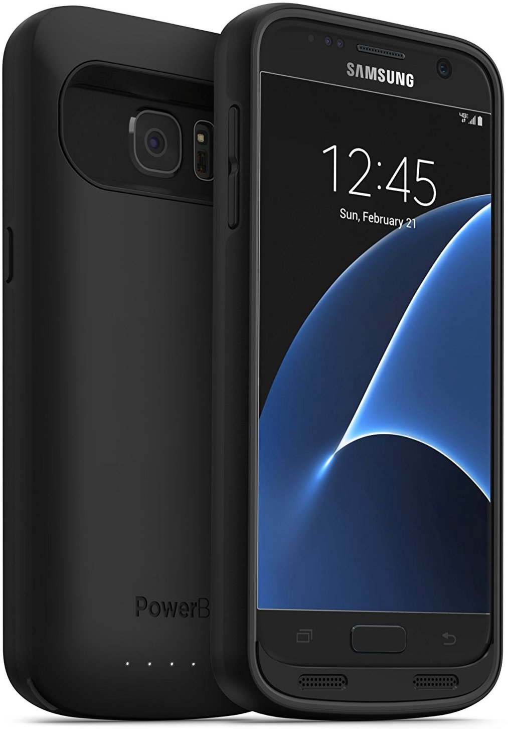 PowerBear Samsung Galaxy S7 Battery Case [4,500 mAh] High Capacity External Battery Charger for The Galaxy S7 (Up to 1.5X Extra Battery) - Black [24 Month Warranty and Screen Protector Included]