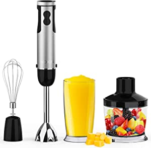 KOIOS Immersion blender 800 Watt 12 Speed,4-In-1 Multifunctional 304 Stainless Steel Electric Hand Blender for Kitchen with 600ml Mixing Beaker, 500ml Chopper Bowl and Whisk, BPA-free