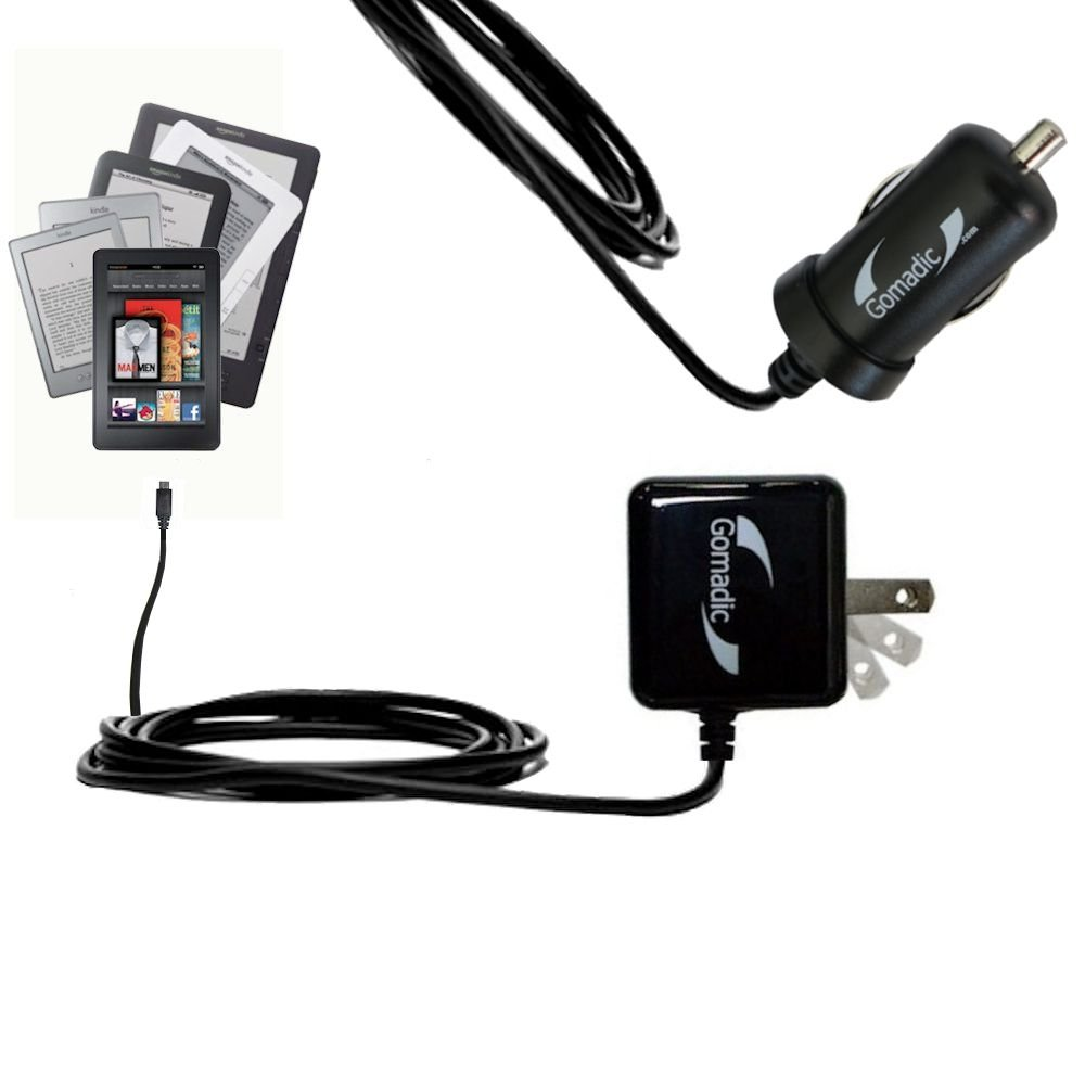 Essential Kit for the Amazon Kindle all models including the Fire / HD / HDX / DX / Touch / Keyboard (WiFi and 3G) includes a Car and Wall Charger