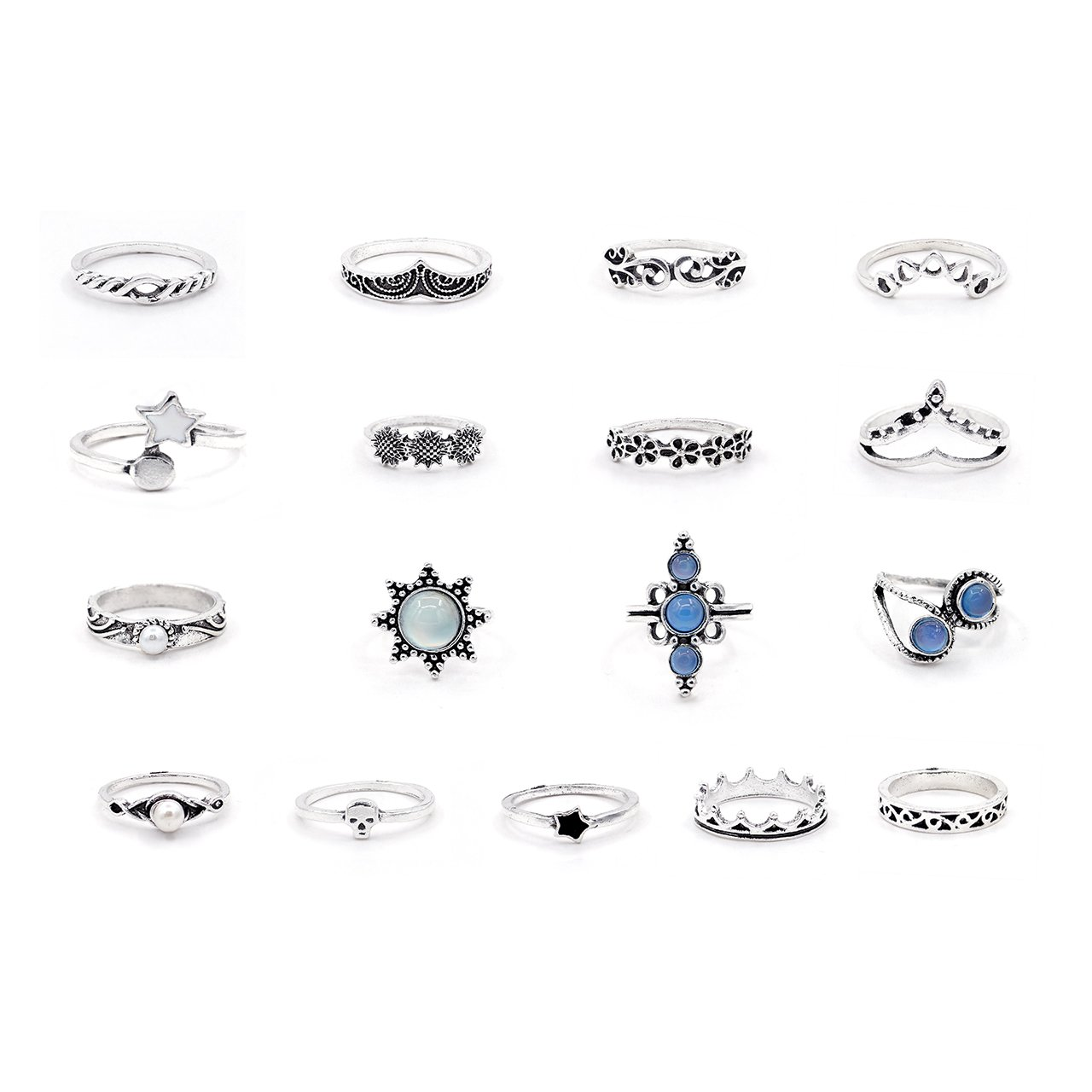 Gudukt Knuckle Ring Set Vintage Big Opal Star Crystal Pearls Boho Stackable Rings for Women