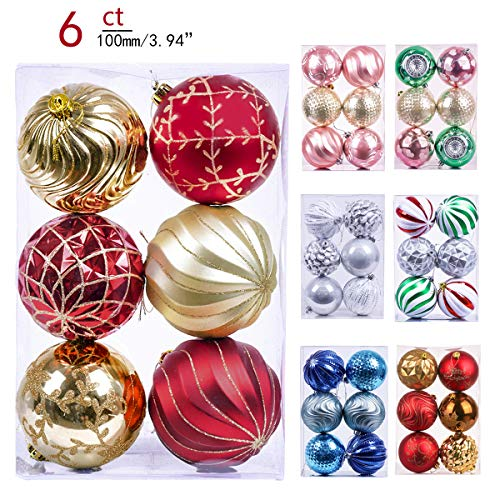 Valery Madelyn 6ct 100mm Luxury Red Gold Shatterproof Christmas Ball Ornaments Decoration,Themed with Tree Skirt(Not Included)