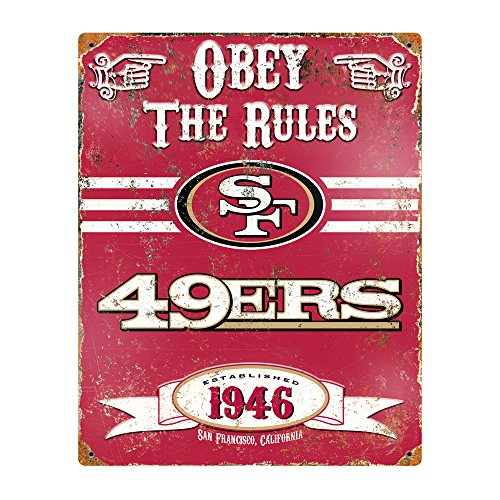 Party Animal NFL Embossed Metal Vintage San Francisco 49ers Sign Sports Metal Signs