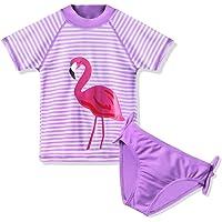 TFJH E Girls Swimsuit SPF UPF 50+ UV 3PCS Rash Guard Swimwear Sunsuits 3-11Y