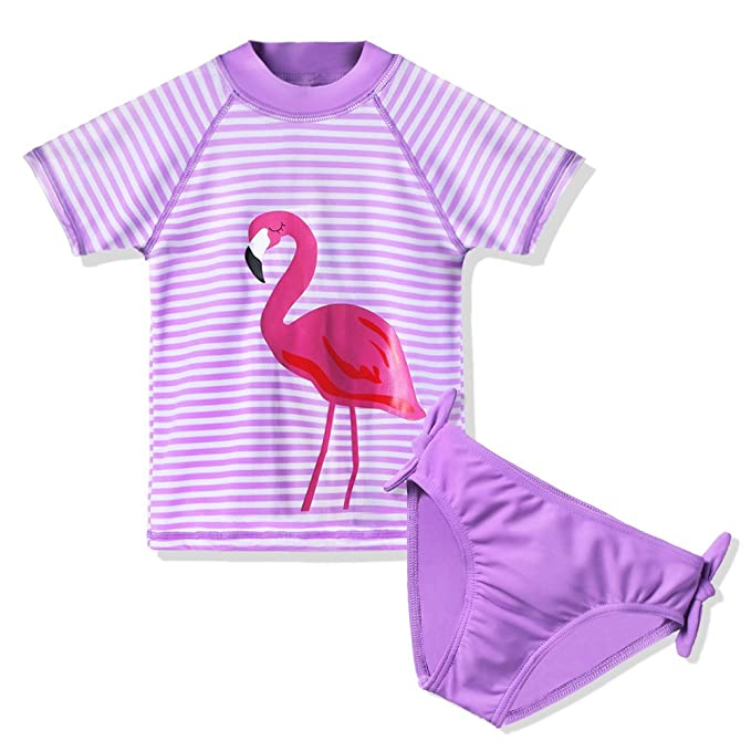 d895af1c66c49 TFJH E Kids Girls Swimsuit UPF 50+ 2 Piece Surfing Swimming Bathing Suits  Swan Purple