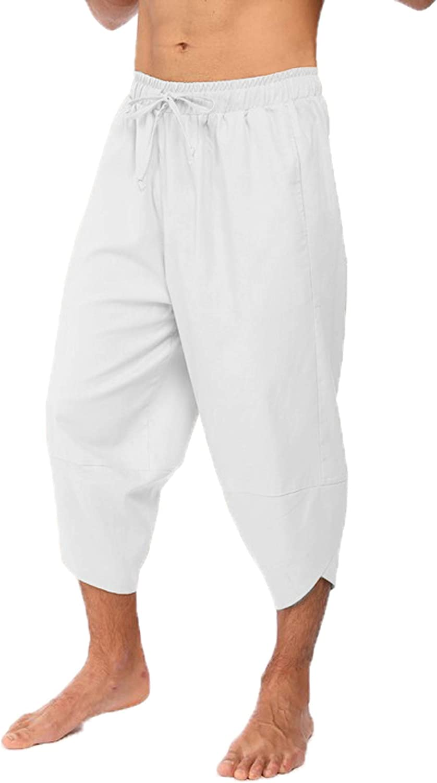 Mens 100/%Cotton Loose Pants Drawstring Elastic Waist Casual Baggy Trousers Pants