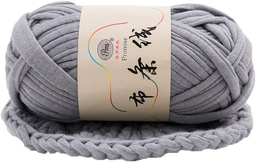 preliked Hand-Knit Woven Thread Thick Basket Blanket Braided DIY Crochet Cloth Fancy Yarn (Grey)