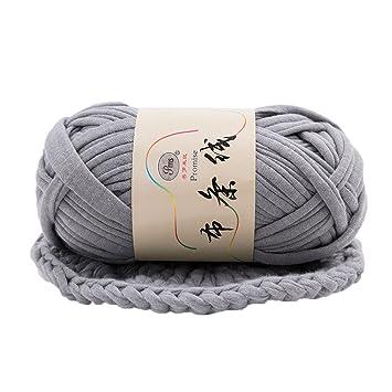 Verlike tissé tricotage Filetage épais Couverture Panier tressé DIY Crochet Chiffon Fancy Fil, Polyester, gris, 30m